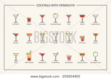 Cocktails with vermouth guide, colored icons. Horizontal orientation. Vector illustration