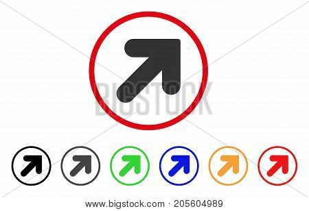 Arrow Up Right icon. Vector illustration style is a flat iconic arrow up right gray rounded symbol inside red circle with black, gray, green, blue, red, orange color variants.