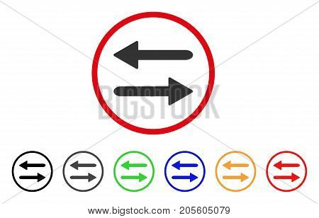Arrows Exchange Horizontal icon. Vector illustration style is a flat iconic arrows exchange horizontal gray rounded symbol inside red circle with black, gray, green, blue, red,
