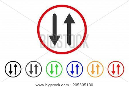 Arrows Exchange Vertical icon. Vector illustration style is a flat iconic arrows exchange vertical grey rounded symbol inside red circle with black, gray, green, blue, red,