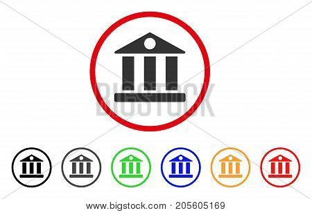 Bank Building icon. Vector illustration style is a flat iconic bank building grey rounded symbol inside red circle with black, gray, green, blue, red, orange color additional versions.