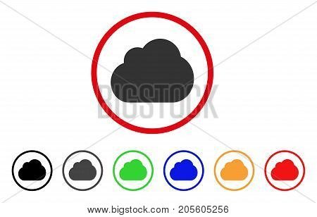 Cloud icon. Vector illustration style is a flat iconic cloud gray rounded symbol inside red circle with black, gray, green, blue, red, orange color variants. Designed for web and software interfaces.