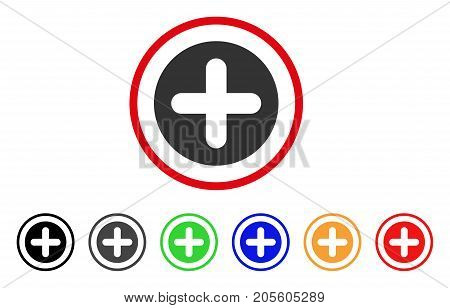 Create icon. Vector illustration style is a flat iconic create gray rounded symbol inside red circle with black, gray, green, blue, red, orange color versions.