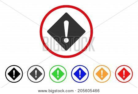 Error icon. Vector illustration style is a flat iconic error gray rounded symbol inside red circle with black, gray, green, blue, red, orange color versions. Designed for web and software interfaces.