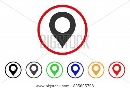 Map Marker icon. Vector illustration style is a flat iconic map marker grey rounded symbol inside red circle with black, gray, green, blue, red, orange color additional versions.