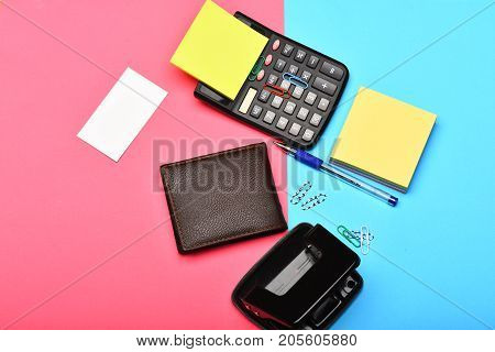 Mans Leather Wallet And Stationery As Business And Work Concept
