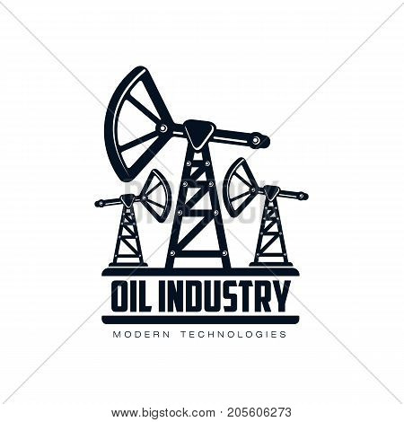vector oil fuel pump, derrick simple flat icon pictogram isolated on a white background. Gas oil fuel, energy power industry symbol, sign silhouette
