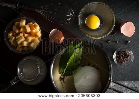 Sauteed with onion, bouquet of garnishes, cheese for sauce mornay horizontal