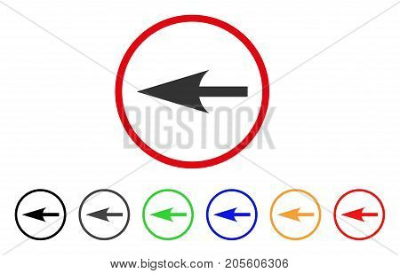 Sharp Left Arrow icon. Vector illustration style is a flat iconic sharp left arrow gray rounded symbol inside red circle with black, gray, green, blue, red, orange color additional versions.
