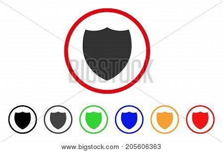 Shield icon. Vector illustration style is a flat iconic shield gray rounded symbol inside red circle with black, gray, green, blue, red, orange color variants.