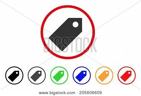 Tag icon. Vector illustration style is a flat iconic tag grey rounded symbol inside red circle with black, gray, green, blue, red, orange color versions. Designed for web and software interfaces.