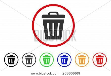 Trash Can icon. Vector illustration style is a flat iconic trash can gray rounded symbol inside red circle with black, gray, green, blue, red, orange color variants.