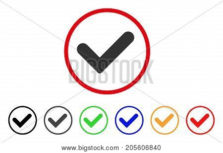 Yes icon. Vector illustration style is a flat iconic yes grey rounded symbol inside red circle with black, gray, green, blue, red, orange color variants. Designed for web and software interfaces.