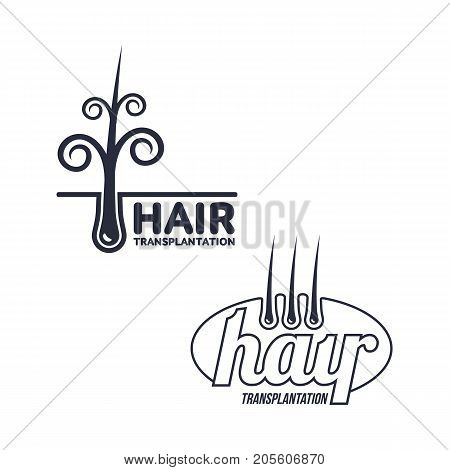 Two hair transplantation logo, logotype templates, vector illustration isolated on white background. Hair loss treatment logos for medical hair transplantation centers