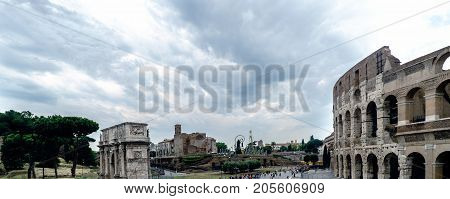 View Of The Arch Of Constantine, The Temple Of Venus And Rome And A Side Of The Roman Coliseum In Ro