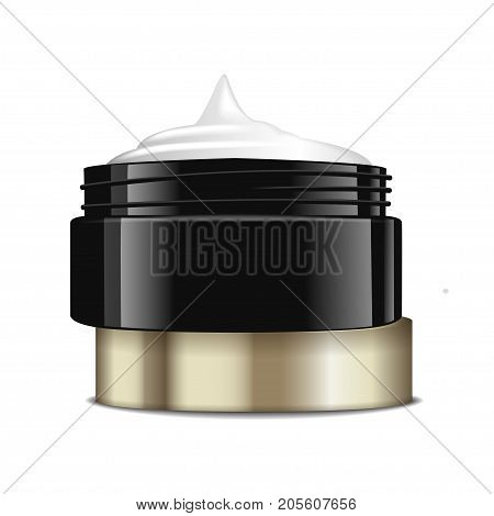 Round black plastic jar with gold cap for cosmetics. Open container. Vector mockup template for your design