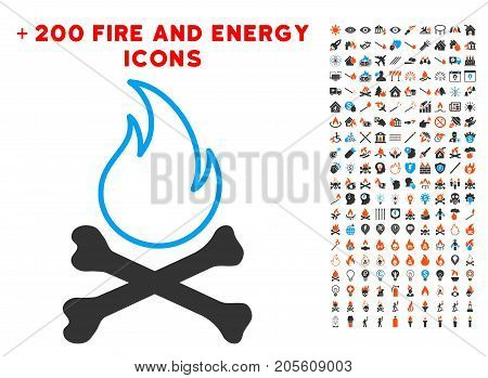 Bones Hell Fire icon with bonus energy clip art. Vector illustration style is flat iconic elements for web design, app user interface.