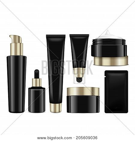 Realistic cosmetic black bottles with gold caps. Vector containers, tubes, sashet for cream, balsam, lotion, gel, foundation cream. 3d Illustration for your design