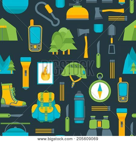 Cartoon Traveling Camping and Hiking Background Pattern on a Blue Flat Design Style Outdoor Summer Leisure. Vector illustration