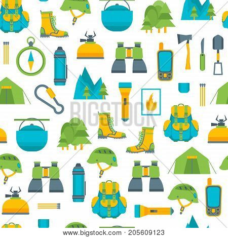 Cartoon Traveling Camping and Hiking Background Pattern on a White Flat Design Style Outdoor Summer Leisure. Vector illustration