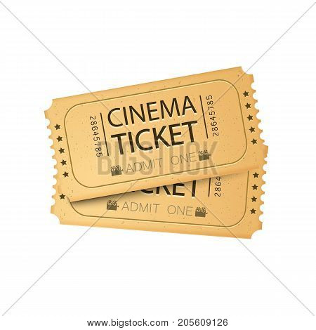 Cinema Ticket Card. Vector illustration. Cinema ticket template. White background