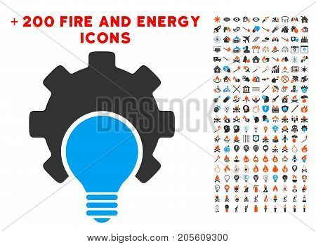 Bulb Configuration Gear icon with bonus energy pictures. Vector illustration style is flat iconic elements for web design, app user interface.