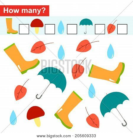 How many objects. Counting game for preschool children. Autumn theme. Vector illustration.