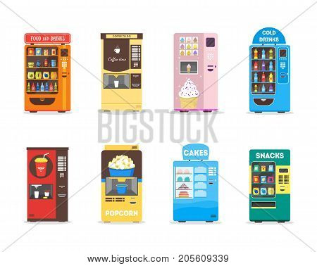 Cartoon Vending Machine Set with Food, Drink, Cakes, Popcorn, Snacks and Ice Cream for Sale Flat Design Style Isolated on White Background. Vector illustration