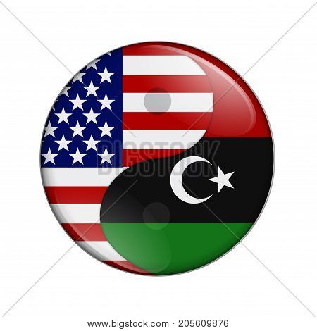 USA and Libya working together The US flag and Libyan flag on a yin yang symbol isolated over white 3D Illustration