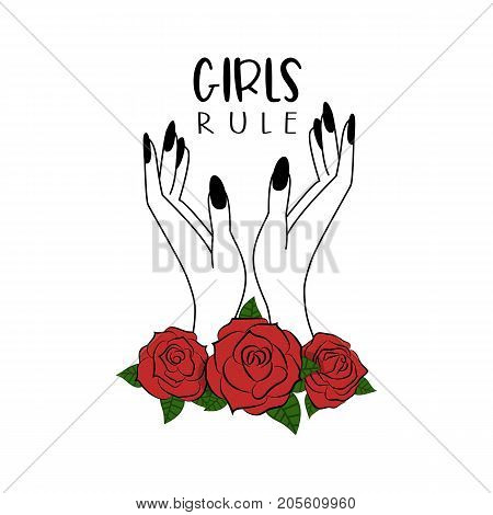 Girls Rule. Vector Illustration. White Background. Slogan With Roses