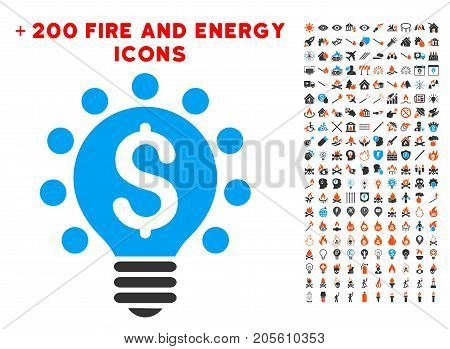 Business Patent Bulb icon with bonus energy design elements. Vector illustration style is flat iconic elements for web design, app user interface.