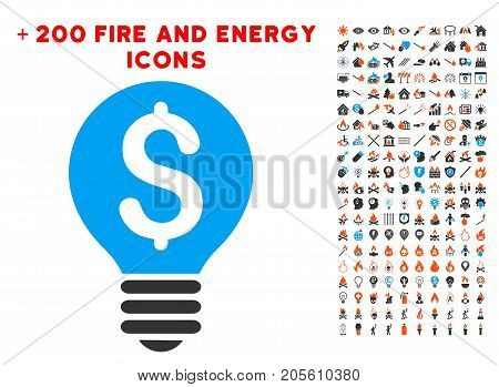 Business Patent Bulb pictograph with bonus power design elements. Vector illustration style is flat iconic elements for web design, application user interface.