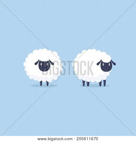 Sheep. Vector Illustration. Funny Cute Sheep Characters.
