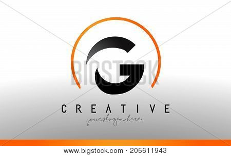 G Letter Logo Design With Black Orange Color. Cool Modern Icon Template.