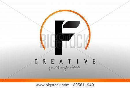 F Letter Logo Design With Black Orange Color. Cool Modern Icon Template.