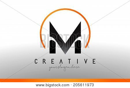 M Letter Logo Design With Black Orange Color. Cool Modern Icon Template.
