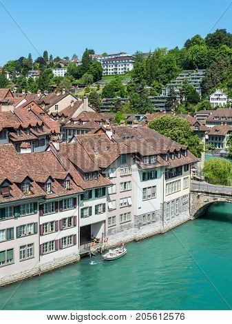 Bern Switzerland - May 26 2016: Architecture of the old European town coastal landscape in Bern (Unesco Heritage) the capital of Switzerland.