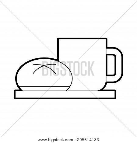coffee cup bun bread dish breakfast food fresh hot vector illustration