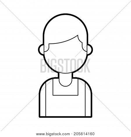portrait young confident chef man in uniform vector illustration