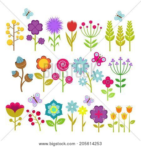 Summer flowers isolated vector collection. Cute floral elements for retro 70s design. Vintage flower blossom of set illustration
