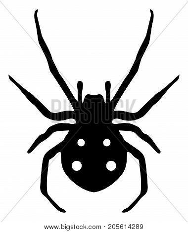 Stock illustration clipart black spider symbol on white