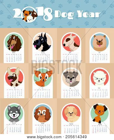 2018 new year calendar with cute and funny puppy dogs chinese symbol vector template. Calendar 2018 year of dog, funny puppy illustration