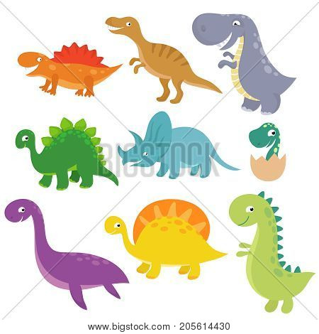 Cute baby dino vector characters isolated vector set. Cartoon colored dinosaur tyrannosaurus and triceratops illustration
