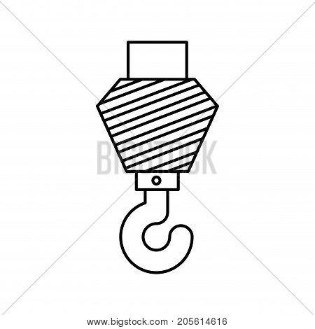 crane hook flat icon monochrome silhouette vector illustration