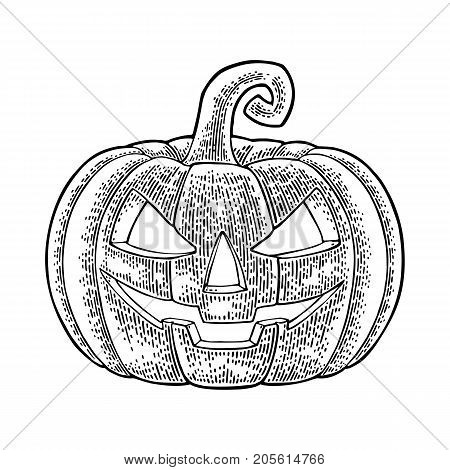 Halloween pumpkin with scary face. Vector black vintage engraving illustration. Isolated on white background