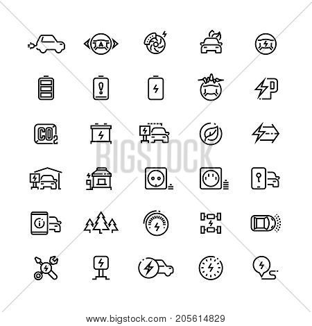 Electric cars line vector icons. Hybrid battery vehicles and green transport symbols. Electric transport renewable and charging, energy eco automobile illustration