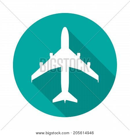 Airplane circle icon with long shadow. Flat design style. Airplane simple silhouette. Modern minimalist round icon in stylish colors. Web site page and mobile app design vector element.