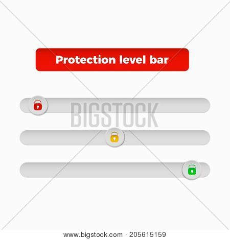 protection level bar different levels of security  of information and passwords