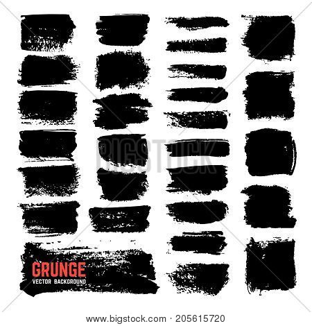 Artistic textured ink brushes. Vector black paintbrush strokes isolated on white background. Abstract pain black stroke texture illustration