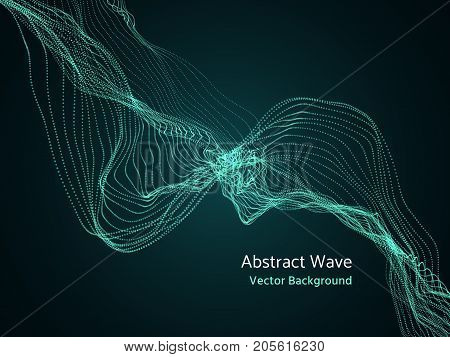 Dynamic particles array, 3d abstract music wave. Dynamics vector concept. Digital pattern motion visualization futuristic illustration